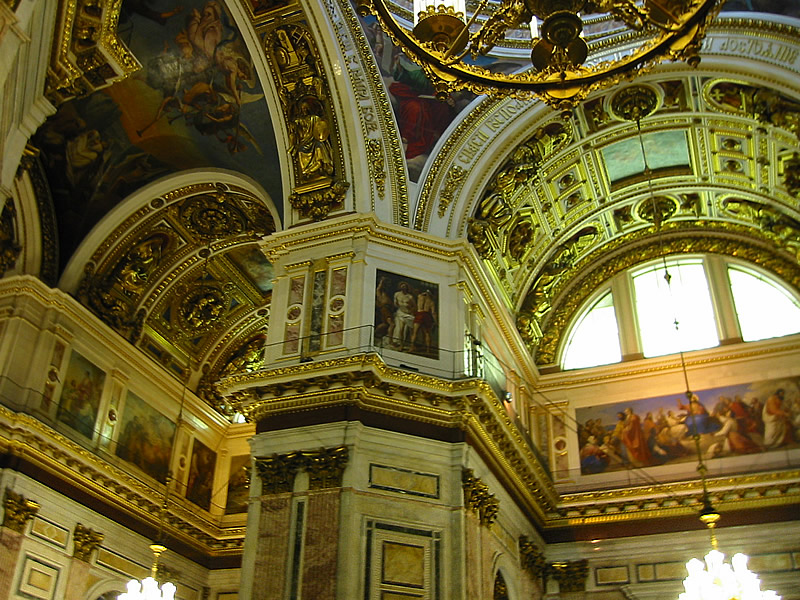This is a photograph of the richly decorated interior of St. Isaac's Cathedral, источник фото: Wikimedia Commons, Автор: Jrissman