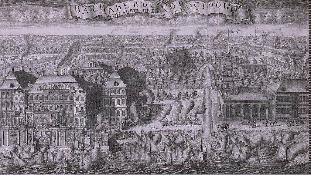 """Гравюра А. Зубова: """"Пленные Шведские корабли, введённые в Санкт-Петербург после Гангутского сражения"""", 1715 г. Фото: Dmitry Rozhkov (Wikimedia Commons)"""